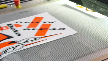 Silk screen printing with vinyl and UV inks